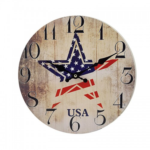 "Ρολόι τοίχου antique style ""USA"" - Vintage Wall Clock ""USA"""