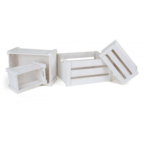 Wooden Box White - (4 τμχ) - Διακόσμηση